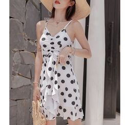 Jumei - Dotted Strappy A-line Dress