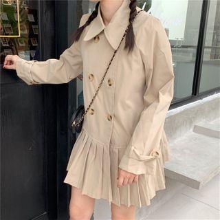 Rorah - Double-Breasted Mini A-Line Pleated Coat Dress