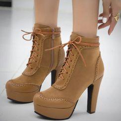 Cinnabelle - Platform Block Heel Lace Up Short Boots