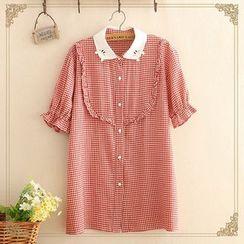 Kawaii Fairyland - Short-Sleeve Frill Trim Plaid Shirt