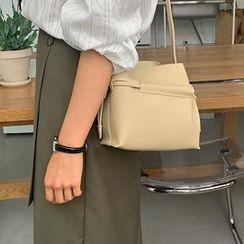 FROMBEGINNING - Drawcord Pleather Bucket Bag