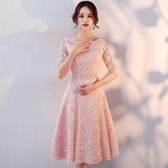 Wonhi - Lace Elbow Sleeve Bridesmaid Dress