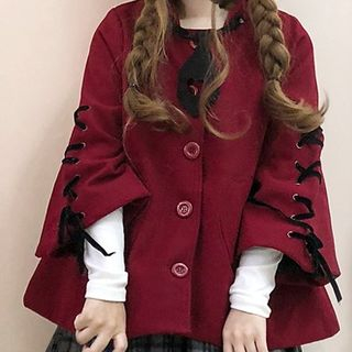 Tomoyo - Devil Hooded Button Jacket / Cat Ear-Accent Hooded Jacket / Mini Plaid Pleated Skirt / Long-Sleeve Top
