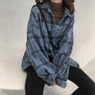 Lumierii - 长袖格子衬衫 / 蕾丝边打底短裤