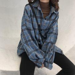 Lumierii - 長袖格子襯衫 / 蕾絲邊打底短褲