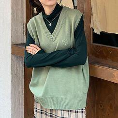 Dute - 刺绣V领针织马甲