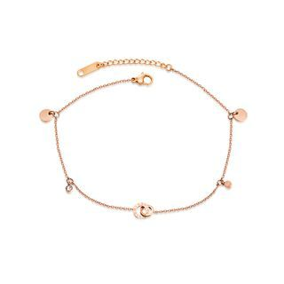 BELEC(ベレック) - Simple and Fashion Plated Rose Gold Roman Numerals Double Ring 316L Stainless Steel Anklet