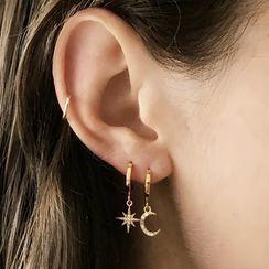 FOON - 925 Sterling Silver Rhinestone Moon & Star Hoop Earrings