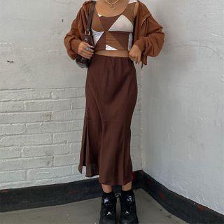 Honet - Plain Midi Skirt