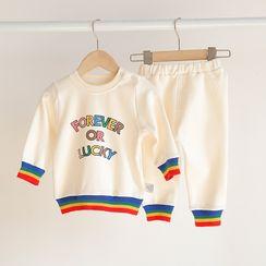 MOM Kiss - 小童套裝: 字母套衫 + 九分哈倫褲