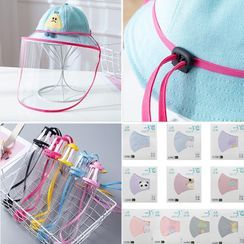 Allium - Set: Baby Adjustable-Strap Face Shield + Printed Cotton Mask (Hat Not Included)