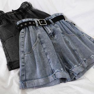 Miss Puff - High-Waist Denim Shorts