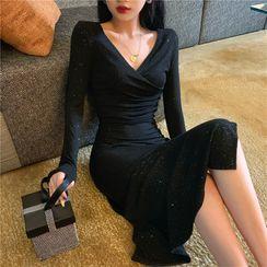 Bobin - Glitter Long-Sleeve Midi Sheath Dress
