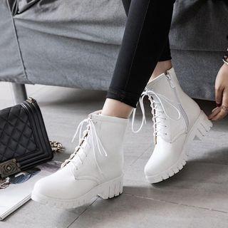 佳美 - 系带厚底短靴