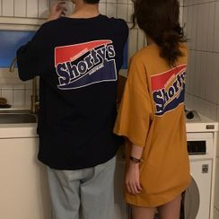 Dute - Couple Matching Elbow-Sleeve Lettering T-Shirt