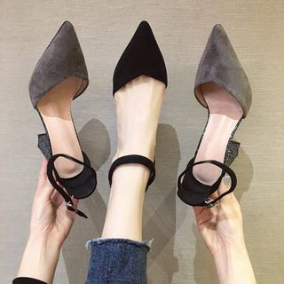 NODO - Ankle-Strap Pointed Chunky-Heel Sandals