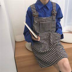 Guajillo - Long-Sleeve Plain Shirt / Houndstooth Overall Dress