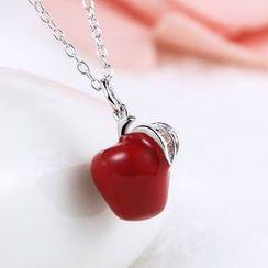 Zundiao - Sterling Silver Rhinestone Apple Necklace