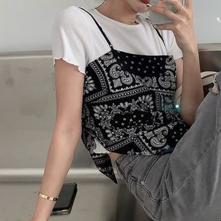 monroll - Short-Sleeve Plain T-Shirt / Printed Asymmetrical Camisole Top