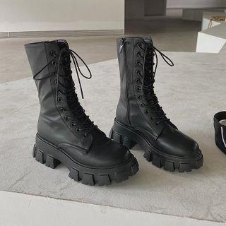 Futari(フタリ) - Lace-Up Platform Short Boots
