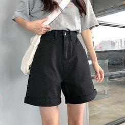 Intrinsica - High-Waist Roll-Up Denim Shorts