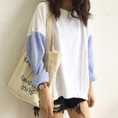 Luna Rouge - Long-Sleeve Striped Panel T-Shirt