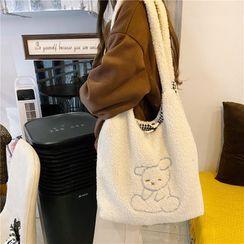 Milha - Rabbit Embroidered Fleece Tote Bag