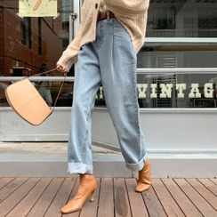 DEEPNY - Pleated Stitched Wide-Leg Jeans