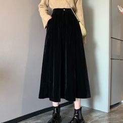 Shinsei - A-Line Midi Velvet Skirt