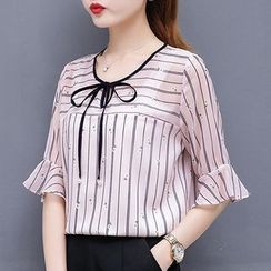 In the Mood(インザムード) - Striped Elbow-Sleeve Blouse