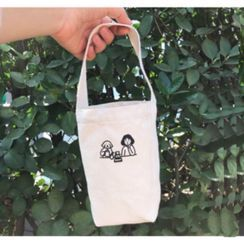 Sacculi(サックリ) - Mini Printed Canvas Bottle Tote Bag - 2 Types
