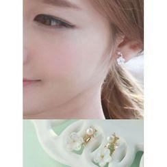 kitsch island - Floral Faux-Pearl Earrings