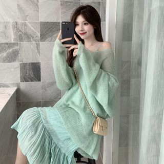 Flowerisque - Oversized Sweater / Spaghetti Strap Midi Shift Dress
