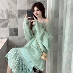 Flowerisque - 寬鬆毛衣 / 細肩帶直身連衣中裙