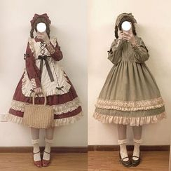 YUE STUDIO - Frilled Trim A-Line Lolita Dress / Lace-up Apron / Bow Headband