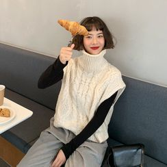 WITH IPUN - Turtle-Neck Cable-Knit Vest
