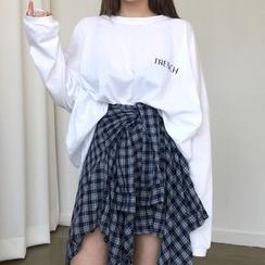 Princessy - Camiseta de manga larga / Minifalda con forma de camisa de cuadros de cuello alto