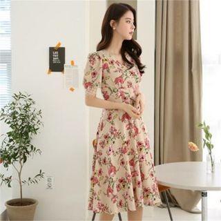 CHICLINE - Puff-Sleeve Floral Print Dress