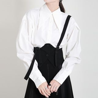 Ultra Modern - Mock Two-Piece Long-Sleeve Midi A-Line Dress