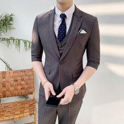 Hawoo - Suit Set: Button-Up Blazer + Vest + Dress Pants