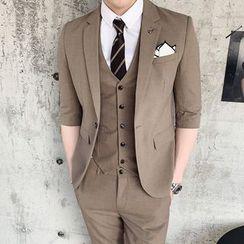 Hawoo - Suit Set: Elbow-Sleeve  Blazer + Vest + Dress Pants