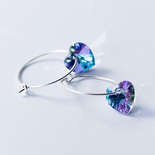 A'ROCH - 925纯银水钻心心圈环耳环