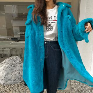 DABAGIRL - Longline Eco-Fur Shirt Jacket