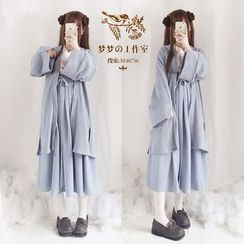 YUE STUDIO - V-Neck Two Tone Dress / Open Front Knitted Long Cardigan