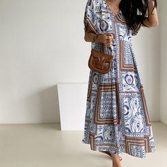 NANING9 - High-Waist Patterned Long Dress with Sash