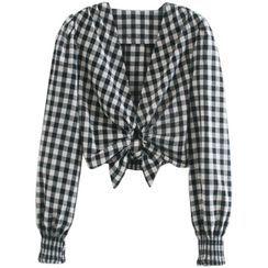 Dewewan - Long-Sleeve Checked Tie-Waist Crop Top
