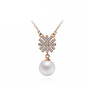 BELEC - Elegantly Plated Rose Gold Snowflake Necklace with White Fashion Pearl