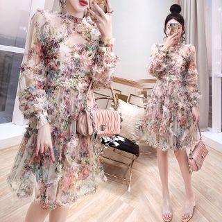 Rosewind - Puff-Sleeve Floral Print A-Line Dress