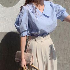 Windcatcher - 泡泡袖飾領純色襯衫/高腰純色褲