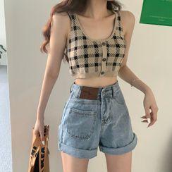 Windflower - Plaid Knit Tank Top / Denim Shorts